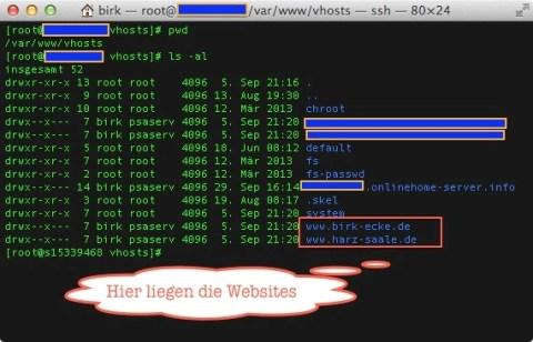 Bild: Unter CentOS 6 Linux liegen die Daten einer Website auf dem 1und1 Virtual Server im Verzeichnis /var/www/vhosts.