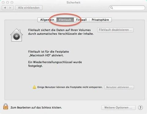 Bild: Aktivieren der Festplattenverschlüsselung unter Mac OS X 10.7 FileVault über die Sytemsteuerung – Sicherheit – FileVault.
