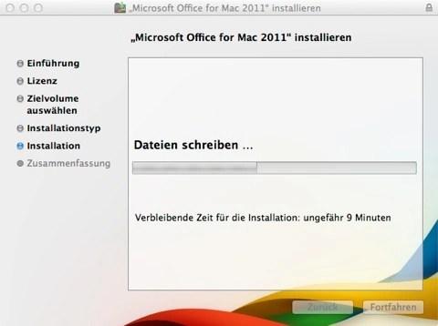 Bild: Die Dateien werden weiter kopiert und die ungefähre Restlaufzeit der Installation wird angezeigt.