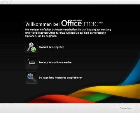 Bild: Da Microsoft Office:mac 2011 ein kommerzielles Programm ist, müssen Sie den Produktschlüssel eingeben.