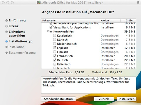 """Bild: Ich möchte das gesamte Office installiert haben, schreibe aber nur in Deutsch, Englisch und gegebenenfalls Französisch. Die restlichen Sprachen habe ich deaktiviert. Mit """"Installieren"""" kommen sie zum nächsten Schritt."""