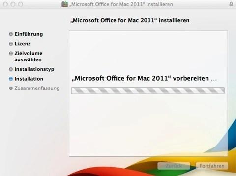 Bild: Ab jetzt läuft das Installationsprogamm von Microsoft Office für Mac durch.