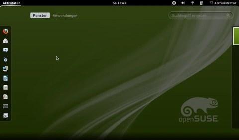 """Bild: Durch Klicken auf """"Aktivitäten"""" gelangt man zu allen geöffneten Fenstern und dem Schnellstarter."""