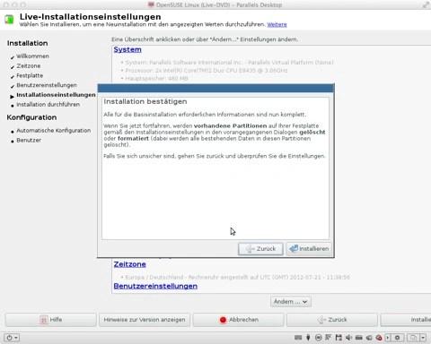 """Bild: Zur Sicherheit gibt es noch einmal ein Abfrage, ob Sie openSUSE 12.1 wirklich installieren möchten. Bestätigen Sie das mit """"Installieren""""."""