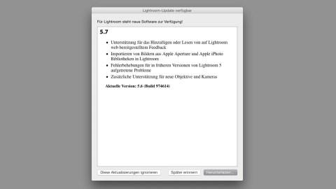 Bild: Ab Version 5.7 bietet Adobe Photoshop Lightroom die Möglichkeit, Bibliotheken von Apple Aperture und Apple iPhoto zu importieren.