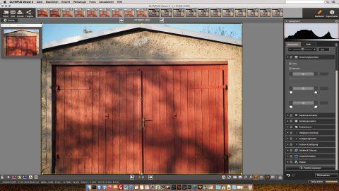 Bild: Der Olympus Viewer 3 ist der einzige kostenfreie RAW Konverter in diesem Test. Trotzdem macht er seinen Job perfekt. Die tonnenförmige Verzeichnung wird problemlos korrigiert.
