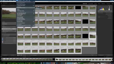 """Bild: Dann in der Menüleiste auf """"Foto"""" > """"Zusammenfügen von Fotos"""" > """"Panorama"""" klicken."""