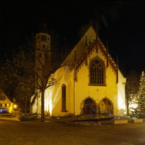 Bild: Blaubeuren Altstadt. Die evangelische Stadtkirche St. Peter und Paul. Klicken Sie auf das Bild um es zu vergrößern.