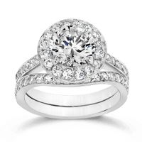 Cubic Zirconia Rings   3.0 Ct. Round 14K Wedding Set   R7513W