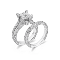 Cubic Zirconia Rings   3.0 Ct. Princess Cut 14K Wedding ...