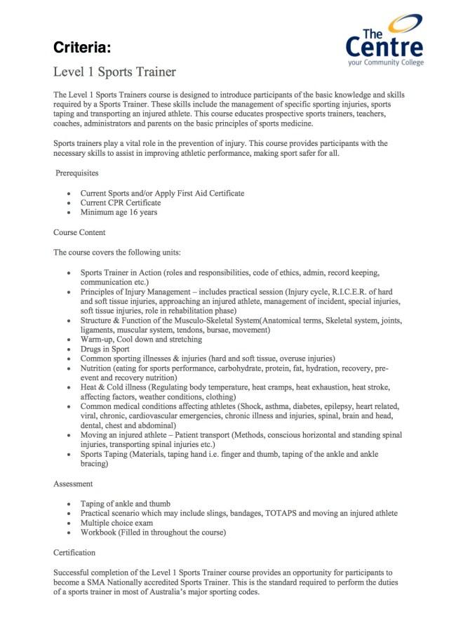 Level 1 Sports Trainer Course Criteria