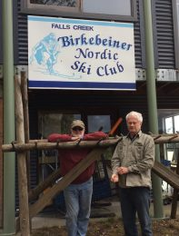 Birkebeiner NSC sign re-placed on the Clubhouse following last years renovations. Left: Brian Keeble & Doug Hamilton