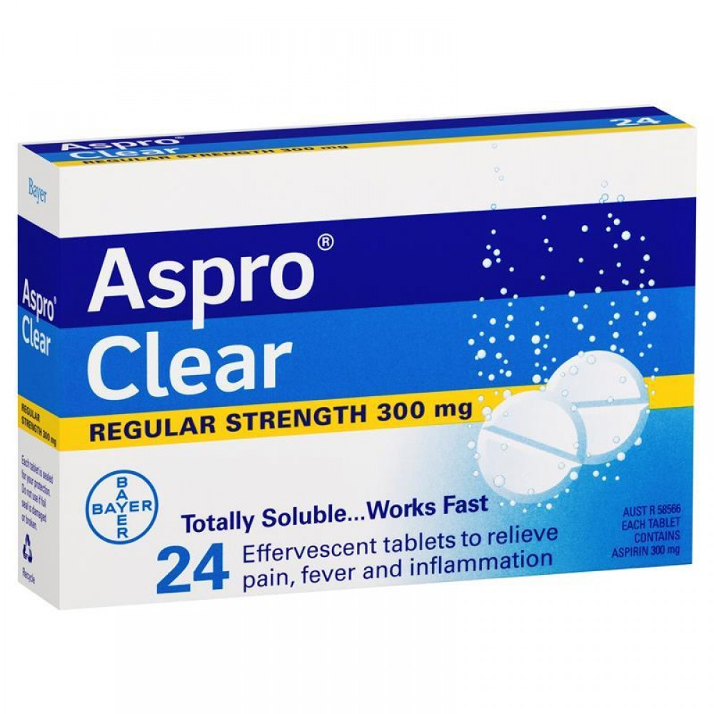 Aspro Clear Soluble Aspirin 300mg 24 Effervescent Tablets ...