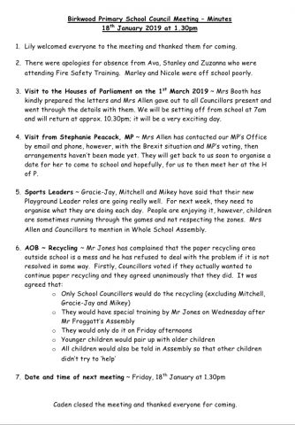 School Council Meeting – Minutes 18th January 2019
