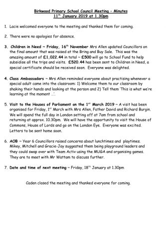 School Council Meeting – Minutes 11th January 2019