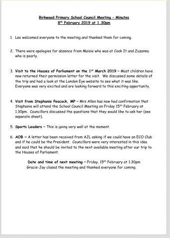 School Council: Minutes 8th February 2019