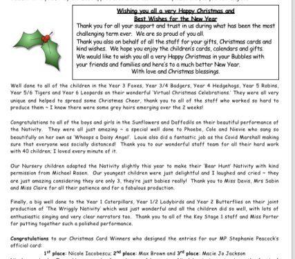 Newsletter 18th December 2020