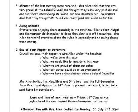School Council Meeting – Minutes 11th June 2021