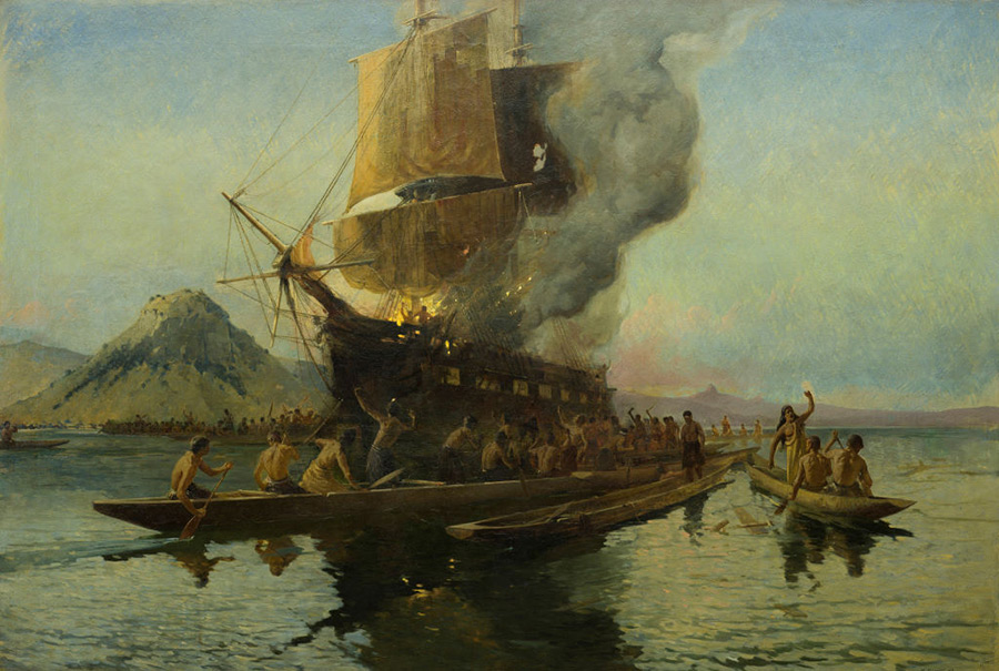 Burning of the Boyd, Whangaroa Harbour, 1809 by Walter Wright