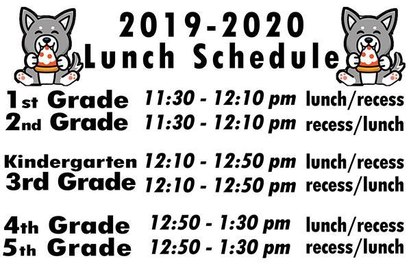 General School Information / Daily LUNCH Schedule