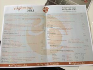 Edgbaston Deli Menu