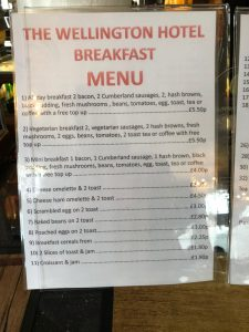 Wellington Hotel Breakfast Menu