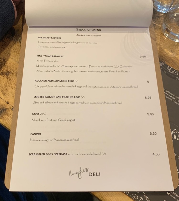 Laghis Deli - Edgbaston - Breakfast Menu