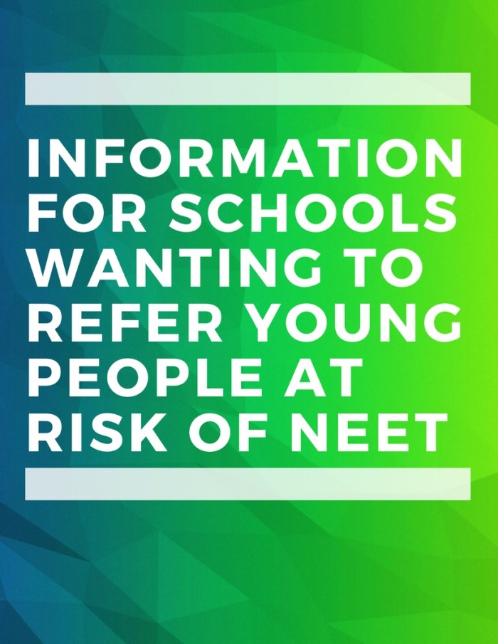 Information for schools wanting to refer young people at risk of NEET