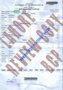 Sample Birth Certificate Lahore Punjab Pakistan