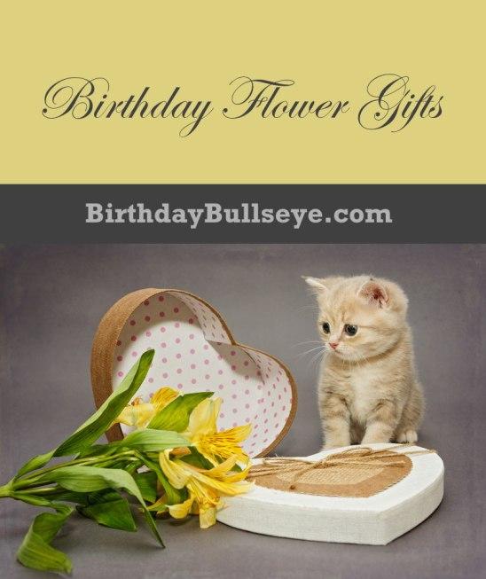 Kitten with Birthday Flower Gift
