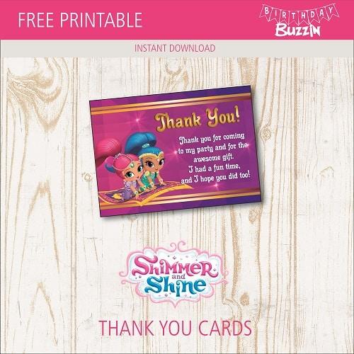 free printable shimmer and shine thank