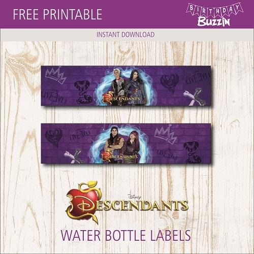 Free Printable Descendants 2 Water Bottle Labels Birthday Buzzin