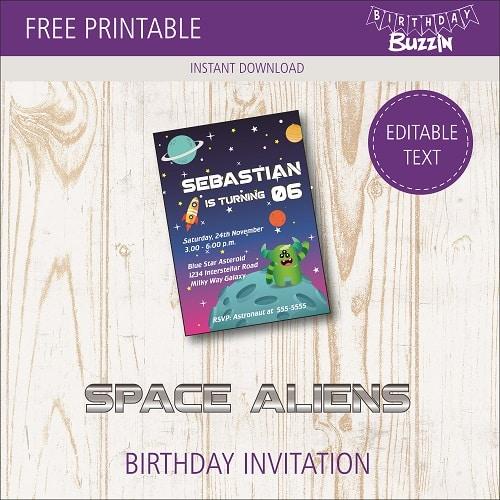 free printable space alien birthday