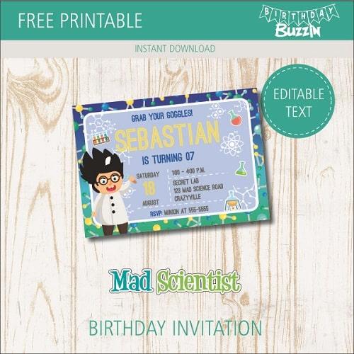 free printable mad scientist birthday