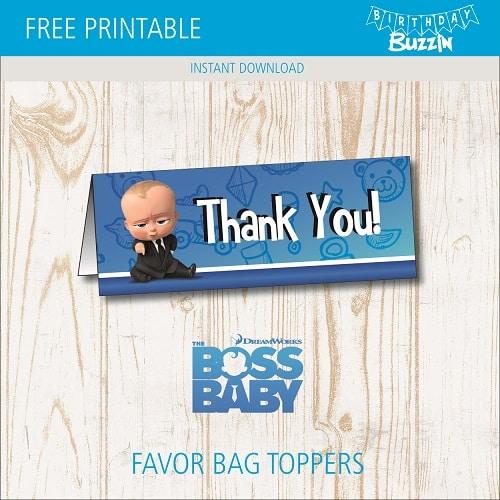 free printable boss baby favor bag