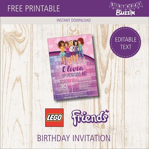 free printable lego friends birthday