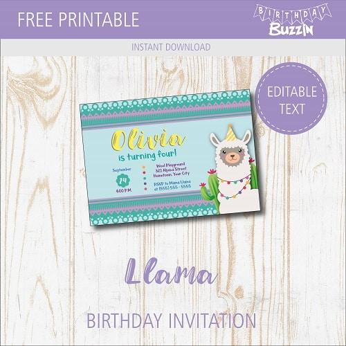 free printable llama birthday