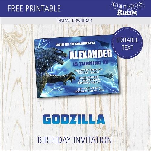 free printable godzilla birthday party