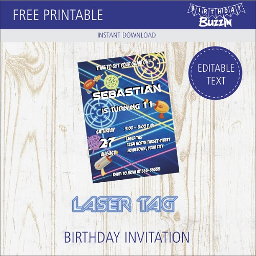 free printable laser tag birthday party