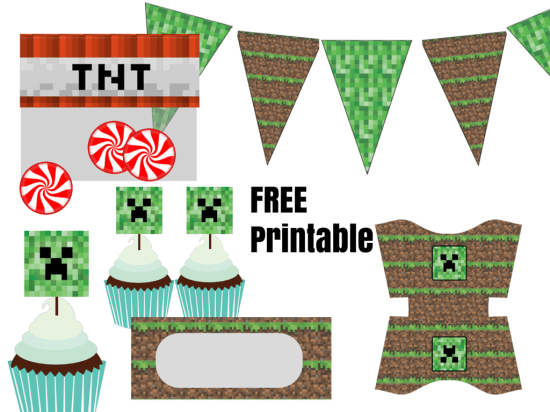 photograph about Free Printable Minecraft Food Labels named Totally free Minecraft Creeper Social gathering Printable - Birthday Bash