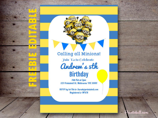 photograph regarding Free Printable Minion Invitations known as Free of charge Minion Get together Printable - Birthday Celebration Options Themes