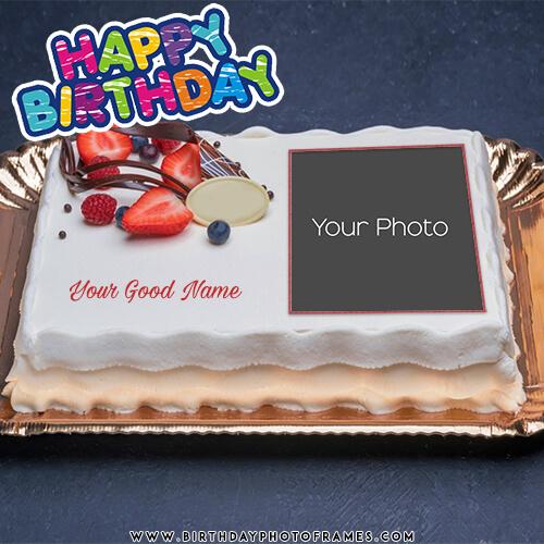 Birthday Cake With Name And Photo Edit Birthdayphotoframescom