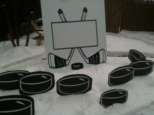 Hockey sign and pucks birthdaySigns.ca