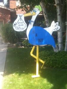 Stork Lawn Sign Rental for a Boy