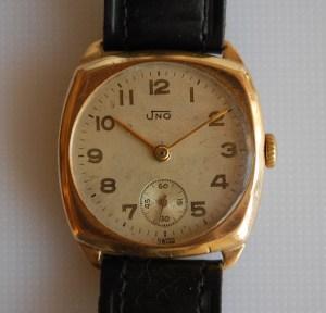 1953 / 1957 Uno men's 9ct gold watch