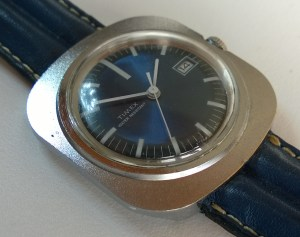 1971 Timex blue dial square cased watch