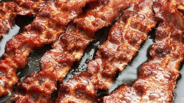 Bacon slices close-up