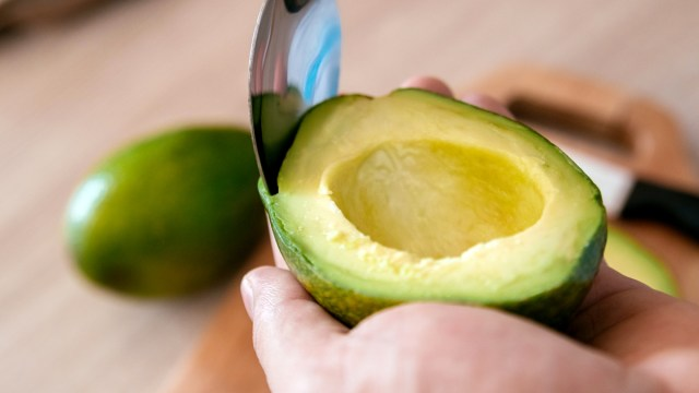 Scoop the avocado out of the peel