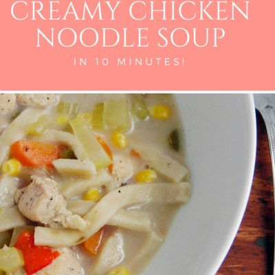 10 Minute Creamy Chicken Noodle Soup - Instant Pot or Stovetop