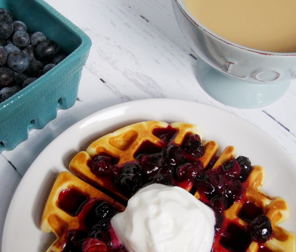 Honey Vanilla Belgium Waffles with Blueberry Lime Syrup